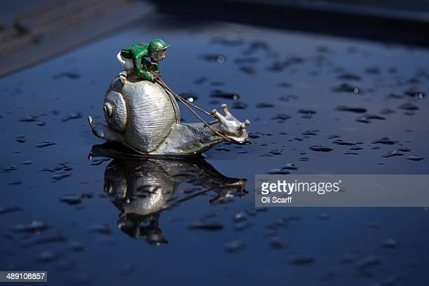 A jockeythemed bonnet ornament on a vehicle at the Badminton Horse Trials on May 10 2014 in Badminton England The Badminton Horse Trials which were...