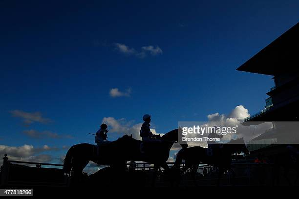 Jockies head for the tunnel following Race 5 ATC Heritage Society 5th Anniversary Handicap during Sydney Racing at Royal Randwick Racecourse on June...