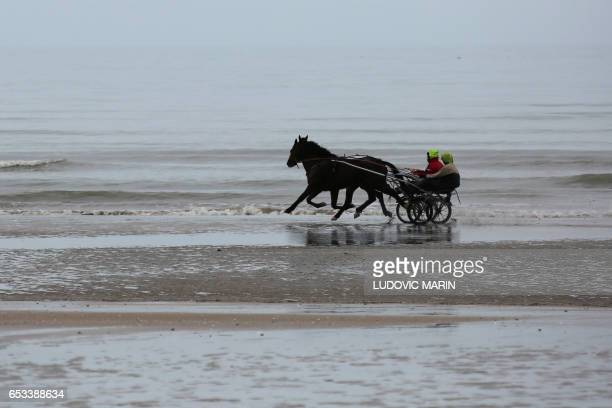 Jockies ride sulkies on the beach of Cabourg in Normandy to train horses for harness racing on March 14 2017 / AFP PHOTO / LUDOVIC MARIN