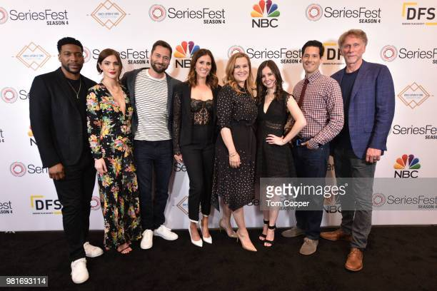 Jocko Sims, Janet Montgomery, Ryan Eggold, Kaily Smith Westbrook, Krista Smith, Randi Kleiner, David Schulner and Peter Horton at the opening of...