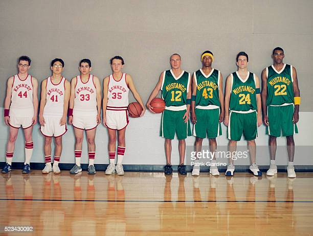 jocks vs. nerds - basketball team stock pictures, royalty-free photos & images