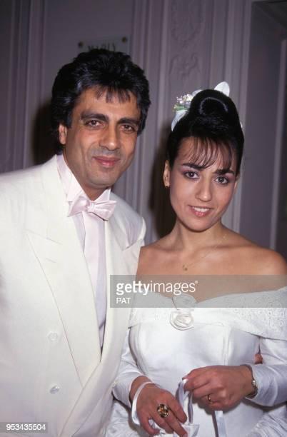 Jocya Macias le jour de son mariage ici avec son père Enrico à la synagogue des Tournelles le 9 février 1992 à Paris France