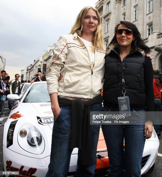 Joddie Kidd with Martine McCutcheon at the start of the car rally Gumball 3000 at Pall Mall in London