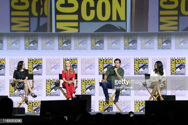 Jodhi May Freya Allan Henry Cavill and Anya Chalotra speak at The Witcher A Netflix Original Series Panel during 2019 ComicCon International at San...