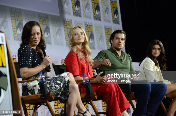 Jodhi May Freya Allan Henry Cavill and Anya Chalotra speak at The Witcher A Netflix Original Series Panel during 2019 ComicCon International at San...