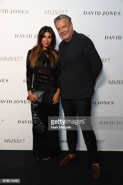 Jodhi Meares and David Bush arrive ahead of the David Jones Spring Summer 2017 Collections Launch at David Jones Elizabeth Street Store on August 9...