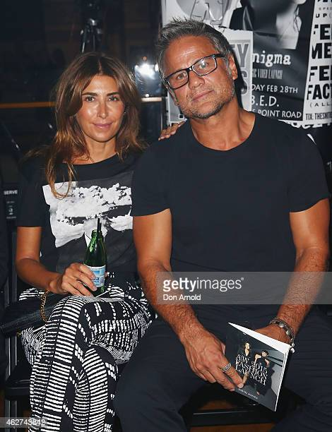 Jodhi Meares and Jon Stevens sit front row at the David Jones Autumn/Winter 2015 Collection Launch at David Jones Elizabeth Street Store on February...