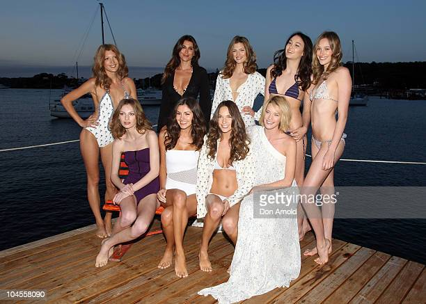 Jodhi Meares poses alongside other models at the launch of Tigerlily's new limited edition luxury line 'Jodhi Meares for Tigerlily' in Vaucluse on...