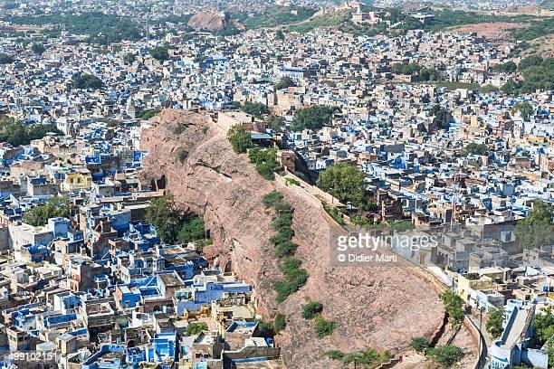 jodhpur blue city from above, india - didier marti stock-fotos und bilder