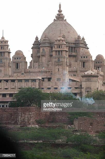 Smoke from a ritual fire is seen emerging from Umaid Bhavan during the wedding of Arun Nayar and Elizabeth in Jodhpur 09 March 2007 British model...