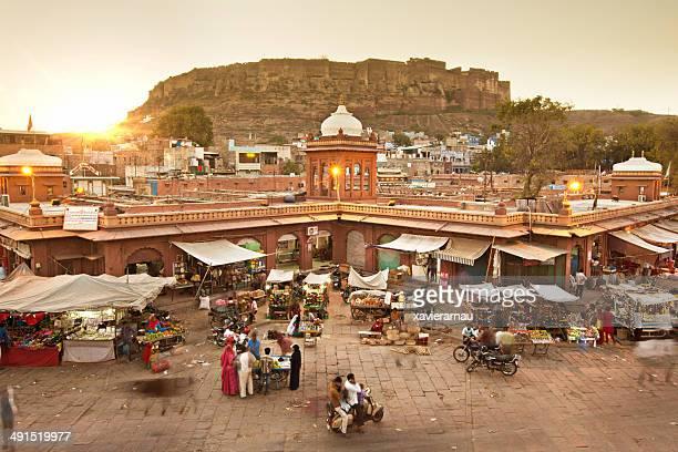 jodhpur market - meherangarh fort stock photos and pictures