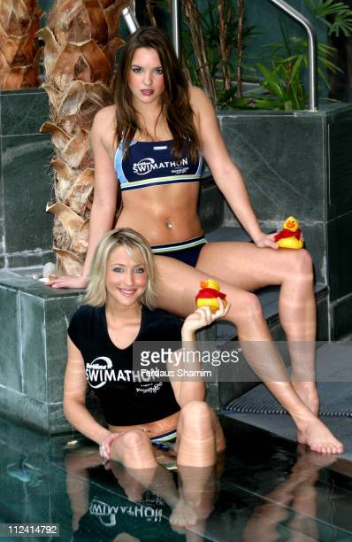 Jodi Albert and Ali Bastian from Hollyoaks during Launch of Butlins Swimathon 2004 Photocall at Hyatt Carlton Tower Hotel London in London Great...