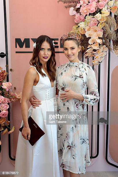 Jodi Anasta and Rachael Finch pose in the Myer marquee at the Birdcage Enclosure at Flemington Racecourse on October 27 2016 in Melbourne Australia