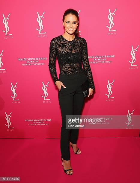 Jodi Anasta arrives ahead of a YSL beauty launch at Sydney Town Hall on April 14 2016 in Sydney Australia