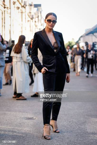 Jodi Anasta wearing Daniel Avakian suit and shoes at Afterpay Australian Fashion Week 2021 on June 02, 2021 in Sydney, Australia.