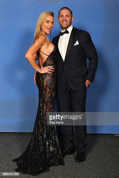 Jodi and Matt Hodgson arrive ahead of the Western Force 2016 Nathan Sharpe Medal Dinner at HBF Arena on August 6 2016 in Perth Australia