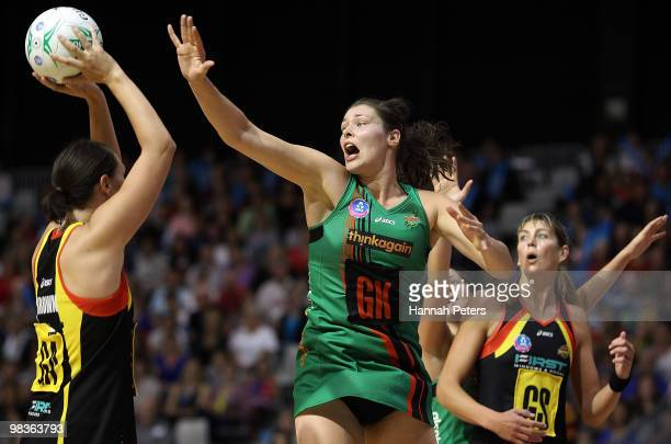 Jodi Brown of the Magic shoots as Susan Fuhrmann of the Fever defends during the round four ANZ Championship match between the Waikato Bay of Plenty...
