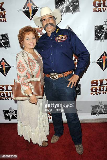 Jodi Davis and Miguel Corona arrive for Cohort Films And Destiny Horizons' Special Screening Of Six Gun Savior held at Crest Theatre on August 4 2015...