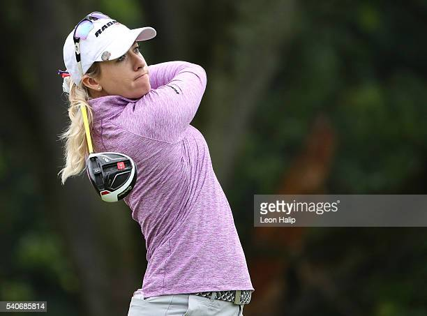 Jodi Ewart Shadoff hits her tee shot on the 7th hole during the first round of the Meijer LPGA Classic at Blythefield Country Club on June 16 2016 in...