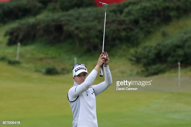 Jodi Ewart Shadoff of England acknowledges the crowd on the 18th green during the final round of the Ricoh Women's British Open at Kingsbarns Golf...