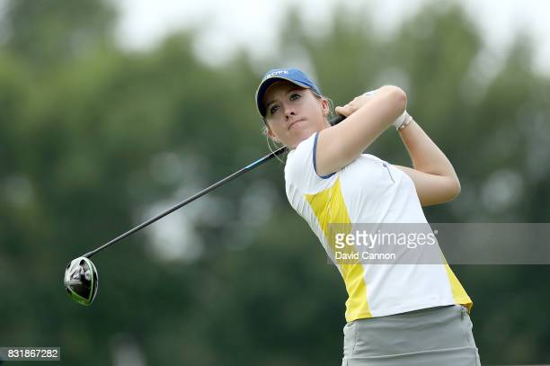 Jodi Ewart Shadoff of England and the European Team in action during practice for the 2017 Solheim Cup Matches at Des Moines Country Club on August...
