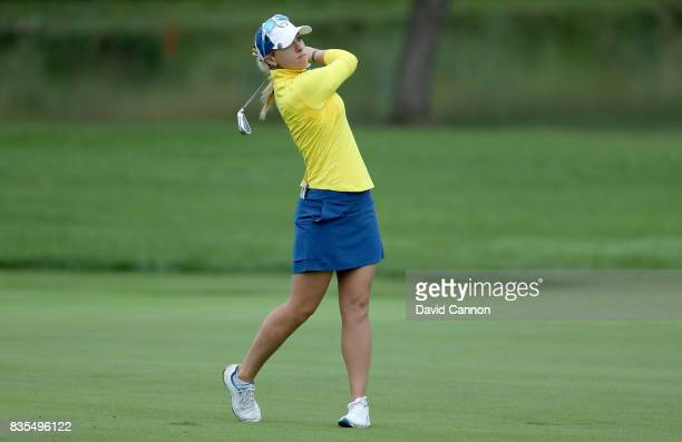 Jodi Ewart Shadoff of England and the European Team plays her second shot on the second hole in her match with Caroline Ma sson against Lexi Thompson...