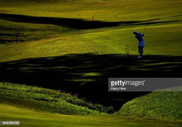 Jodi Ewart Shadoff of England hits a second shot out of the rough on the 17th fairway during round two of the HugelJTBC Championship at the Wilshire...