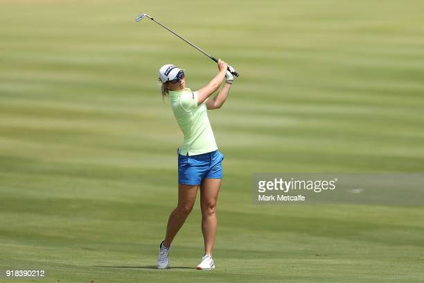 Jodi Ewart Shadoff of England hits an approach shot on the 18th hole during day one of the ISPS Handa Australian Women's Open at Kooyonga Golf Club...