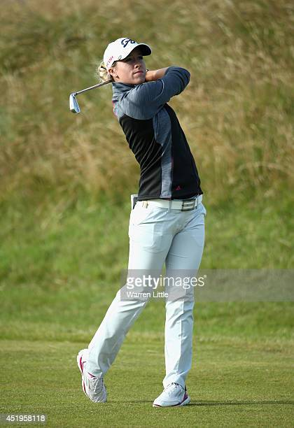 Jodi Ewart Shadoff of England hits her 2nd shot on the 1st hole during the first round of the Ricoh Women's British Open at Royal Birkdale on July 10...