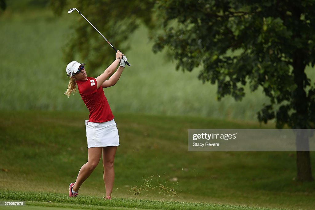 Jodi Ewart Shadoff of England hits her approach shot on the 15th hole during the singles matches of the 2016 UL International Crown at the Merit Club on July 24, 2016 in Chicago, Illinois.