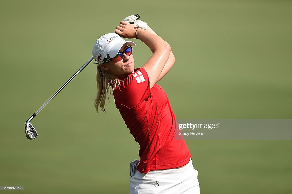 Jodi Ewart Shadoff of England hits her approach shot on the 17th hole during the singles matches of the 2016 UL International Crown at the Merit Club on July 24, 2016 in Chicago, Illinois.