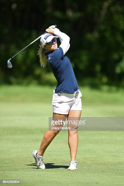 Jodi Ewart Shadoff of England hits her approach shot on the first hole during the final round of the Thornberry Creek LPGA Classic at Thornberry...