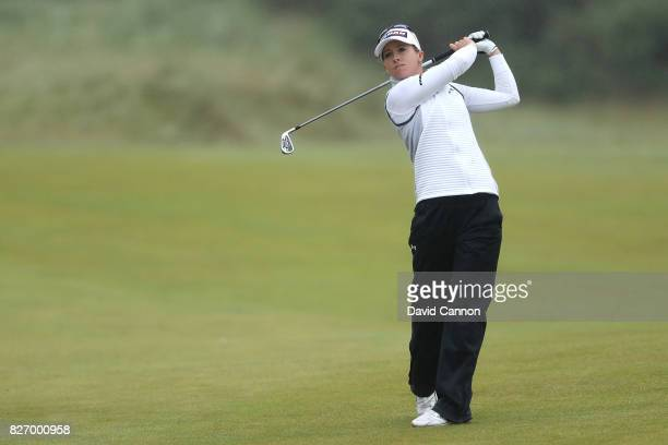 Jodi Ewart Shadoff of England hits her second shot on the 16th hole during the final round of the Ricoh Women's British Open at Kingsbarns Golf Links...