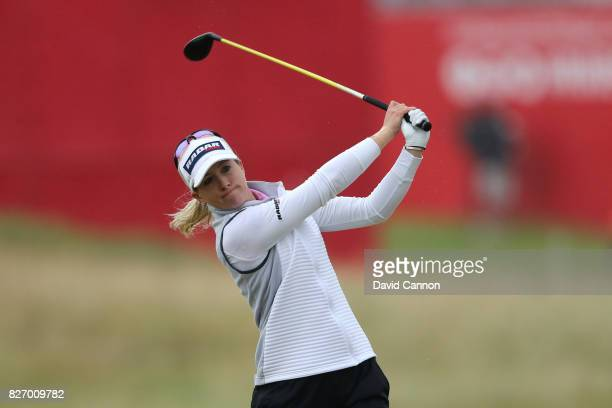 Jodi Ewart Shadoff of England hits her second shot on the 17th hole during the final round of the Ricoh Women's British Open at Kingsbarns Golf Links...