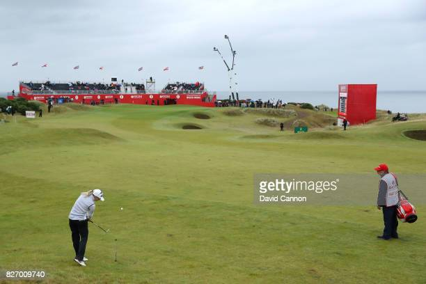 Jodi Ewart Shadoff of England hits her second shot on the 18th hole during the final round of the Ricoh Women's British Open at Kingsbarns Golf Links...