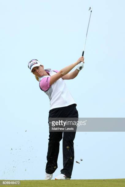 Jodi Ewart Shadoff of England hits her second shot on the 4th hole during the final round of the Ricoh Women's British Open at Kingsbarns Golf Links...