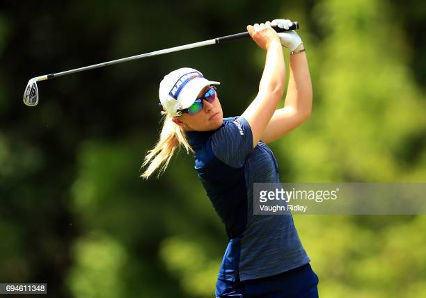 Jodi Ewart Shadoff of England hits her tee shot on the 17th hole during the third round of the Manulife LPGA Classic at Whistle Bear Golf Club on...