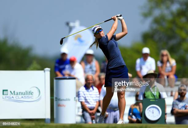 Jodi Ewart Shadoff of England hits her tee shot on the 1st hole during the third round of the Manulife LPGA Classic at Whistle Bear Golf Club on June...