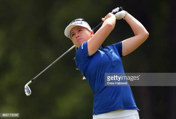 Jodi Ewart Shadoff of England hits her tee shot on the third hole during the first round of the Walmart NW Arkansas Championship Presented by PG on...