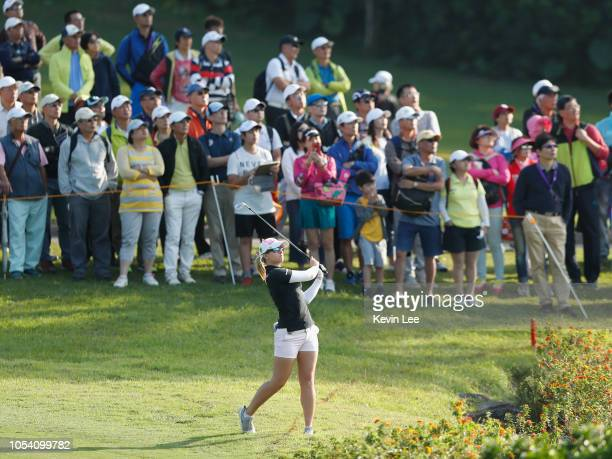 Jodi Ewart Shadoff of England in action during the third round of the Swinging Skirts LPGA Taiwan Championships at Ta Shee Golf Country Club on...