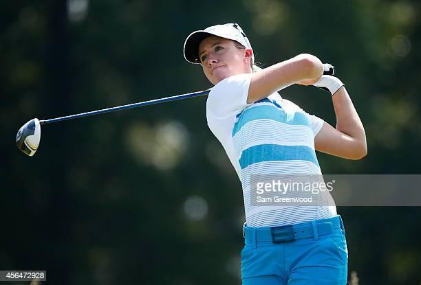 Jodi Ewart Shadoff of England plays a shot during the final round of the Yokohama Tire LPGA Classic at the Robert Trent Jones Golf Trail at Capitol...