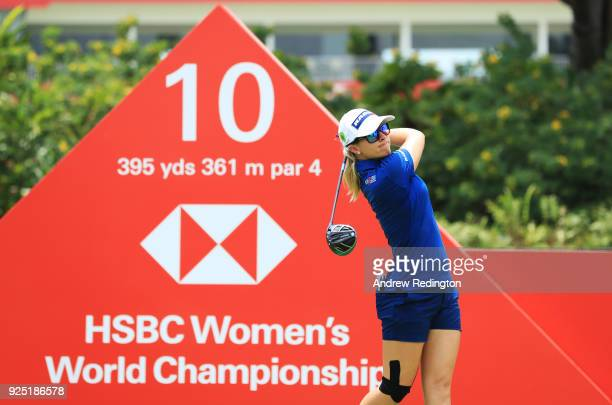 Jodi Ewart Shadoff of England plays a shot during the proam prior to the HSBC Women's World Championship at Sentosa Golf Club on February 28 2018 in...