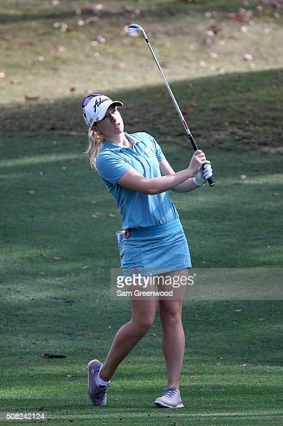 Jodi Ewart Shadoff of England plays a shot on the seventh hole during the first round of the Coates Golf Championship Presented By RL Carriers at...