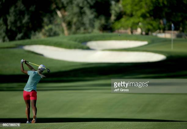 Jodi Ewart Shadoff of England plays her approach shot from the 11th fairway during the first round of the ANA Inspiration at the Dinah Shore...