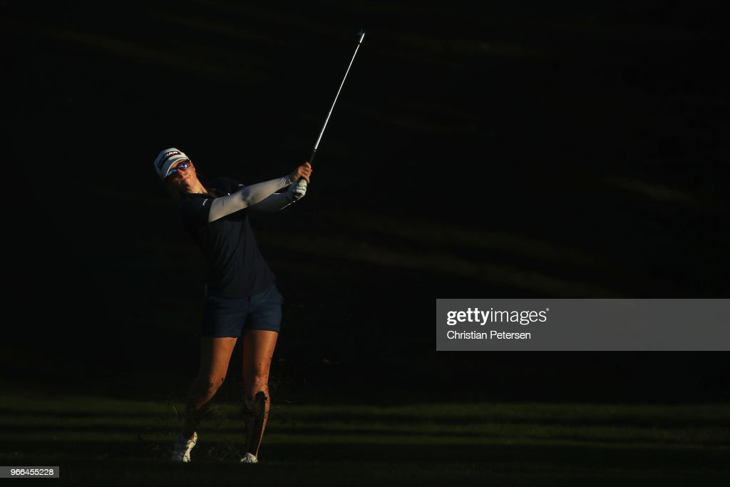 Jodi Ewart Shadoff of England plays her second shot on the 18th hole during the third round of the 2018 U.S. Women's Open at Shoal Creek on June 2, 2018 in Shoal Creek, Alabama.
