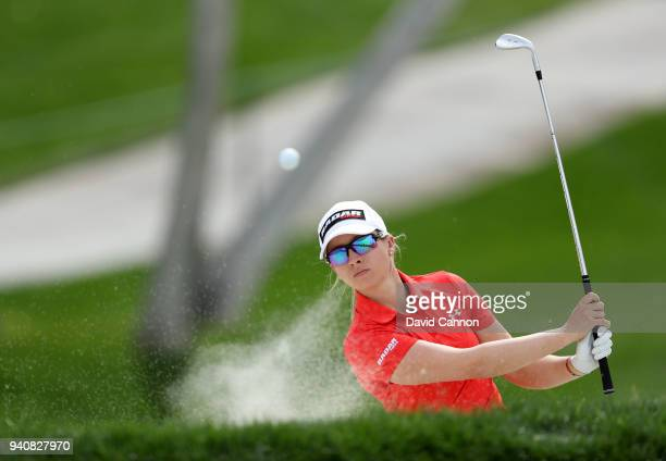 Jodi Ewart Shadoff of England plays her second shot on the eighth hole during the final round of the 2018 ANA Inspiration on the Dinah Shore...