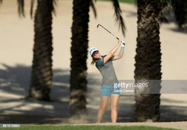 Jodi Ewart Shadoff of England plays her second shot on the par 4 14th hole during the second round of the 2017 Dubai Ladies Classic on the Majlis...