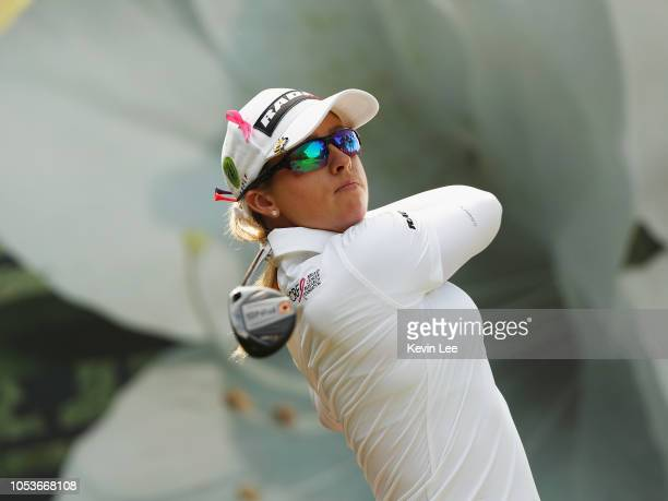 Jodi Ewart Shadoff of England plays her shot during the second round of the Swinging Skirts LPGA Taiwan Championships at Ta Shee Golf Country Club on...
