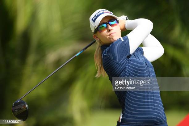 Jodi Ewart Shadoff of England plays her shot from the second tee during the third round of the HSBC Women's World Championship at Sentosa Golf Club...