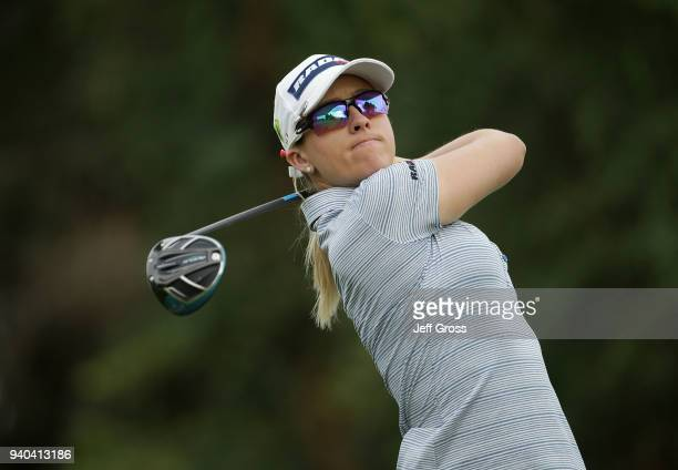 Jodi Ewart Shadoff of England plays her tee shot on the 16th hole during the third round of the ANA Inspiration at Mission Hills Country Club on...